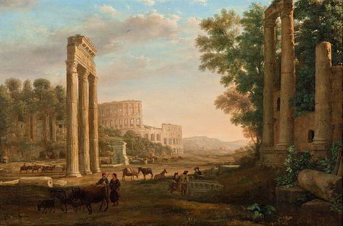 Claude Lorrain. Capriccio met ruïnes van het Romeinse Forum van 1000 Schilderijen