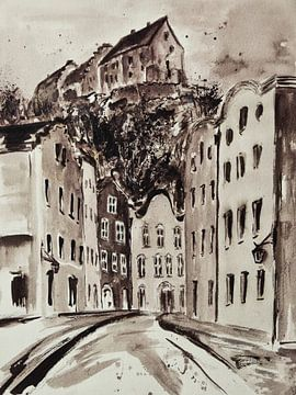 Burghausen - Mautnergasse mit Burg von Christine Nöhmeier