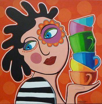 Vrouw met mokjes van Yvonne Klaassens