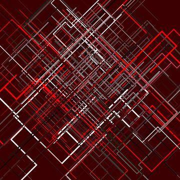 Abstracte lijn netto 3 gekleurd van Jörg Hausmann