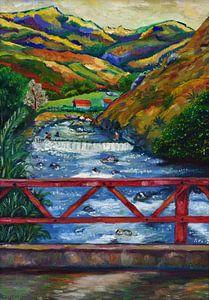 Tropische Landschaft mit Fluss und Berge. Valle del Cauca, Kolumbien von David Morales Izquierdo