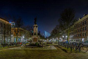 De Wilhelminafontein op het Noordereiland in Rotterdam in de nacht van MS Fotografie | Marc van der Stelt