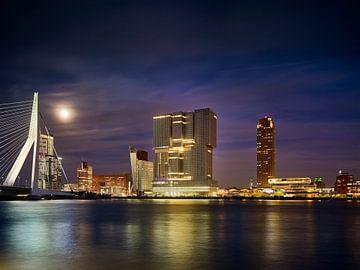 Blick auf den Wilhelminapier mit Erasmusbrücke in Rotterdam