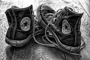 zwart wit foto sportschoen van Evelien van der Horst