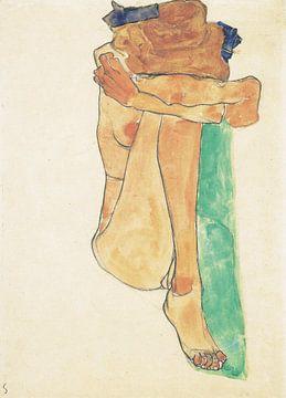 Weiblicher Akt mit grünem Polster, Egon Schiele - 1910 von Atelier Liesjes