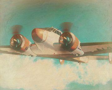 Peinture de style rétro d'un Beechcraft 18 SNB-5 de 1936 sur Jan Keteleer