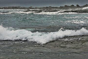 Landschaft - Neuseeland - Kaikoura - Schroffe Küste - Sturm - Gemälde von Schildersatelier van der Ven