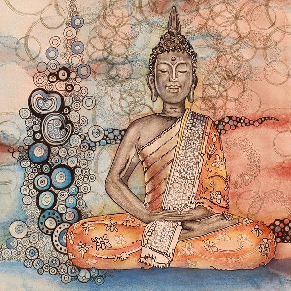 Boeddha 1 van Helma van der Zwan