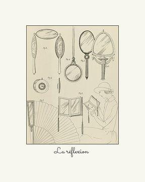 La reflexion | Historische Art Deco mode schets | Vintage design met moderne look van NOONY
