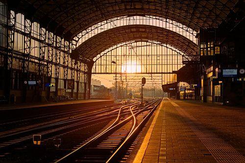 Zonsondergang station Haarlem