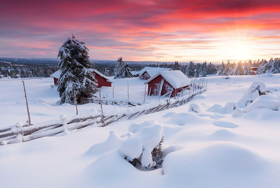 Zonsondergang in Lillehammer van Rob Kints