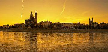 Coucher de soleil à Magdebourg sur Frank Herrmann