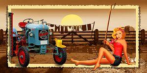 Speld op Meisje met de tractor op de boerderij