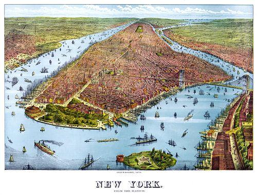 Oude poster met een afbeelding van het Amerikaanse New York uit 1879 van Natasja Tollenaar