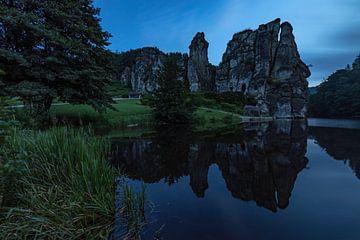 L'étang d'Externsteine et de Wiembecke à l'heure bleue