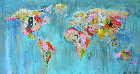 Worldmap painting mix van Paint- Ing