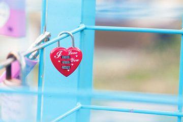 Love You slot aan hek van Natasja Tollenaar