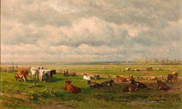 Weidelandschap met vee, Willem Roelofs (I)