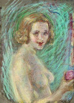 vintage nude illustration. Akt mit Obst. Alice Pike Barney von Atelier Liesjes