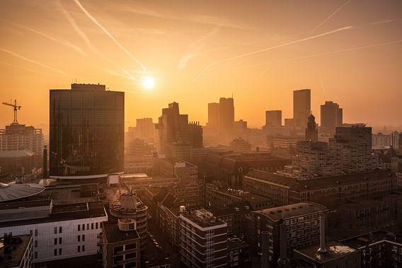 Zonsondergang vanaf de Laurenskerk | Rotterdam