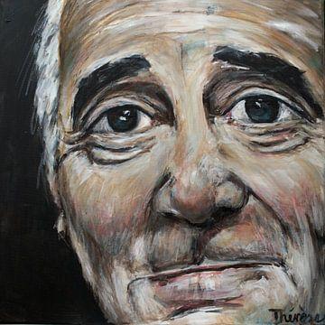 Porträt von Charles Aznavour. von Therese Brals