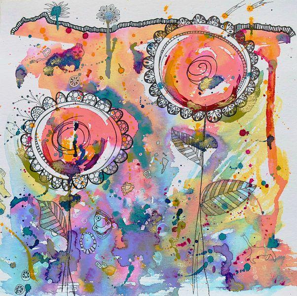 Abstracte bloemen van Jessica van Schijndel