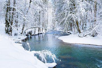 Rivier door besneeuwd landschap van Denis Feiner