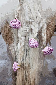 Gevlochten paardenstaart met rozen von Arie Storm