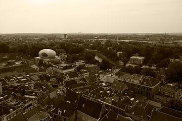 Zwolle vanaf de Peperbus II von mono chromie