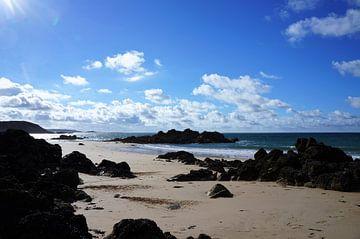 Strand bij laagtij Cap Frehel Bretagne van Sandra van der Burg