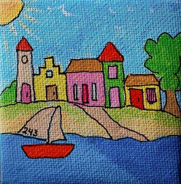 Huizen aan het water met boot von Angelique van 't Riet