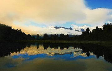 Landschaft - Neuseeland - Mount Cook - Ölgemälde mit Radierung von Dirk van der Ven