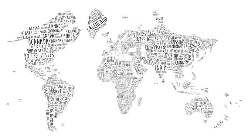 Typografische Wereldkaart | Engelstalig van Wereldkaarten.Shop