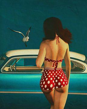 Peinture de style rétro d'une fille et d'une voiture classique sur Jan Keteleer