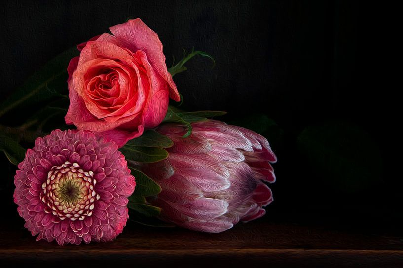 Bloemen in baroque stijl, olieverf suggestie van Marion Moerland