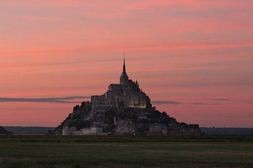 Roze hemel Mont Saint-Michel