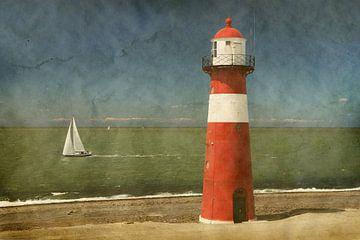 Vintage foto  vuurtoren  Westkapelle Zeeland van Seasons of Holland