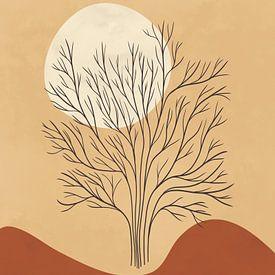 Minimalistisch landschap in lichte herfstkleuren met een boom van Tanja Udelhofen