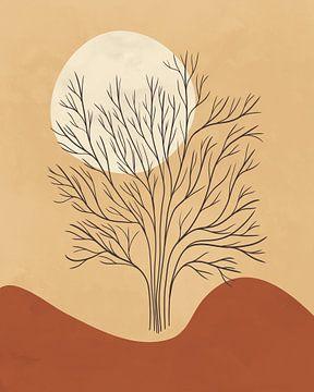 Minimalistisch landschap in lichte herfstkleuren met een boom