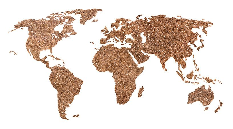Wereldkaart van echte Koffiebonen | Collage van Wereldkaarten.Shop