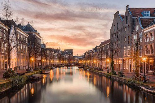 Leiden tijdens zonsondergang