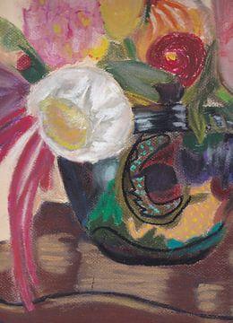 Boeket bloemen in platelen pot