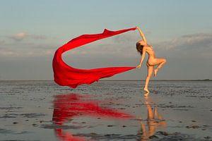 Met rood doek naakt op de wadden bij zonsondergang