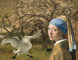 De bedreigde zwaan schrikt van het meisje met de Parel