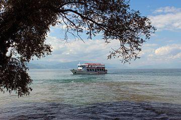 Doorkijk over het meer van Ohrid, Macedonie