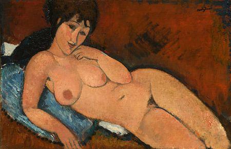 Amedeo Modigliani.  Nude ona Blue Cushion, 1917