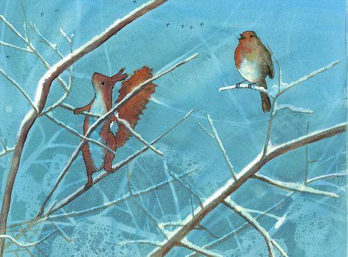 Illustration Eichhörnchen und Rotkehlchen von Martine van Nieuwenhuyzen