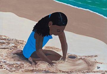 Meisje aan het strand van Ilia Berends