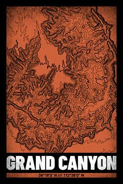 Grand Canyon | Kaart Topografie (Grunge) van ViaMapia