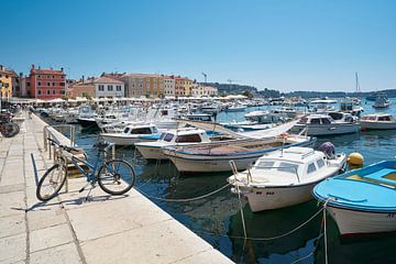 Jachthaven van de historische stad Rovinj aan de kust van de Adriatische Zee in Kroatië.